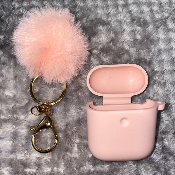 Light Pink AirPod 2nd Generation Case and Keychain
